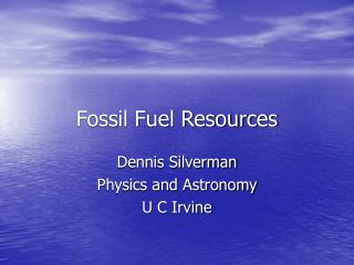 Fossil Fuel Resources