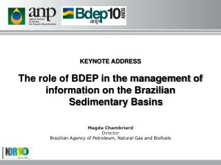 KEYNOTE ADDRESS The role of BDEP in the management of information on the Brazilian