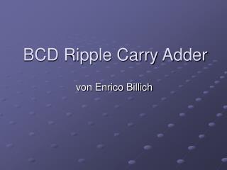 BCD Ripple Carry Adder