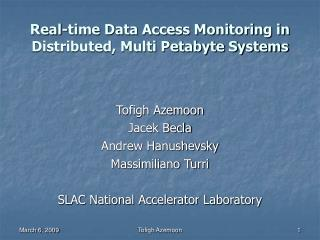 Real-time Data Access Monitoring in Distributed, Multi Petabyte Systems