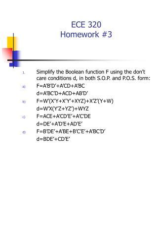 ECE 320  Homework #3