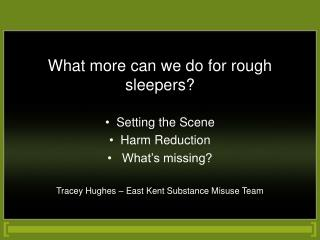 What more can we do for rough sleepers?