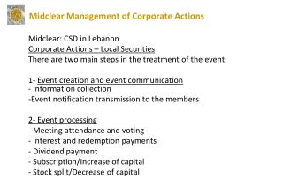 Midclear: CSD in Lebanon Corporate Actions – Local Securities