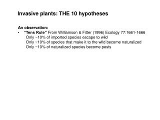 """An observation: """"Tens Rule""""  From Williamson & Fitter (1996) Ecology 77:1661-1666"""