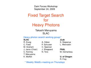 Fixed Target Search  for  Heavy Photons