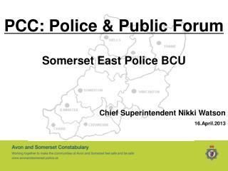 PCC: Police & Public Forum Somerset East Police BCU Chief Superintendent Nikki Watson