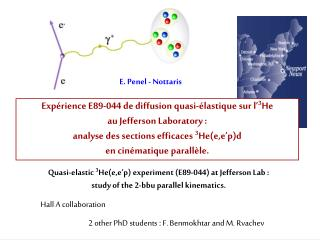 Quasi-elastic  3 He(e,e'p) experiment (E89-044) at Jefferson Lab :