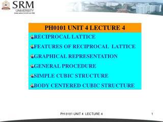 PH0101 UNIT 4 LECTURE 4