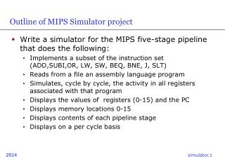 Outline of MIPS Simulator project