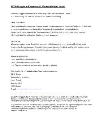 BCW-Gruppe in Essen sucht Werkstudenten/ -innen