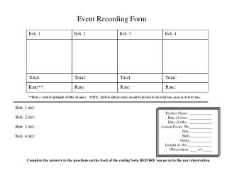 Event Recording Form