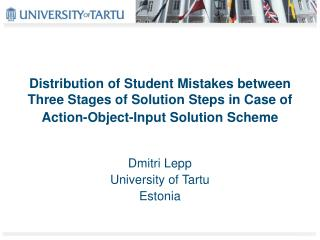 Distribution of Student Mistakes between Three Stages of Solution Steps in Case of Action-Object-Input Solution Scheme