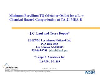 Minimum Beryllium TQ (Metal or Oxide) for a Low Chemical Hazard Categorization at TA-21 MDA-B