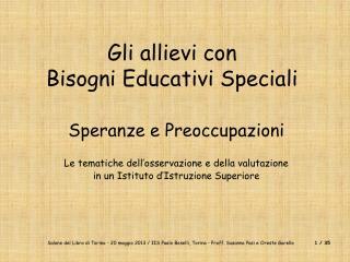 Gli allievi con Bisogni Educativi Speciali