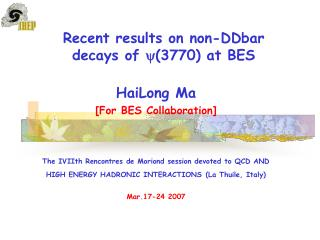 Recent results on non-DDbar decays of (3770) at BES