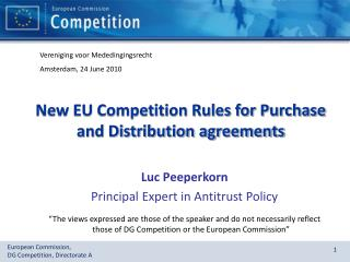 New EU Competition Rules for Purchase and Distribution agreements