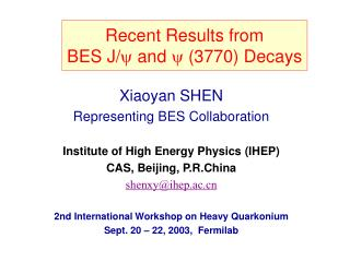 Recent  Results from  BES J/ and  (3770) Decays