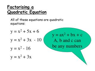 Factorising a Quadratic Equation