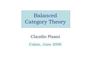 Balanced  Category Theory