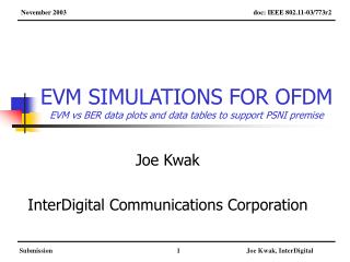 EVM SIMULATIONS FOR OFDM EVM vs BER data plots and data tables to support PSNI premise