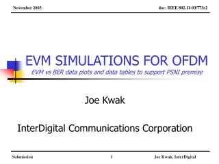 EVM SIMULATIONS FOR OFDM EVM vs BER data plots and data tables to support PSNI premise