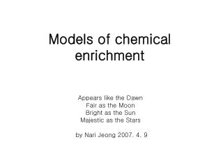 Models of chemical enrichment