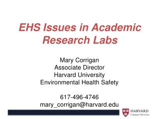 EHS Issues in Academic Research Labs