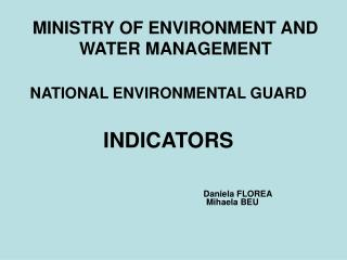 MINISTRY OF ENVIRONMENT AND WATER MANAGEMENT