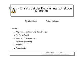 Linux - Einsatz bei der Bezirksfinanzdirektion München