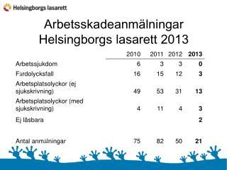 Arbetsskadeanmälningar Helsingborgs lasarett 2013