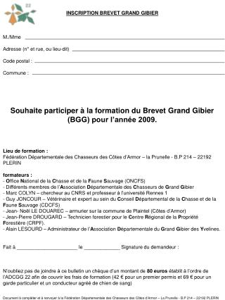INSCRIPTION BREVET GRAND GIBIER M./Mme