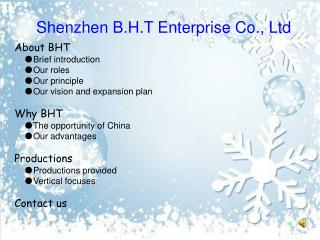 Shenzhen B.H.T Enterprise Co., Ltd