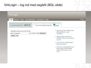 VirkLogin – log ind med nøglefil (BGL-slide)