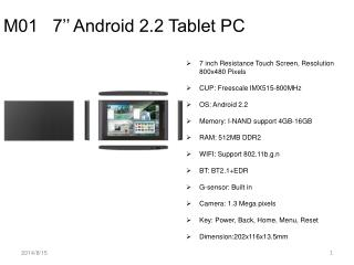 M01   7'' Android 2.2 Tablet PC