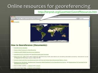 Online resources for georeferencing