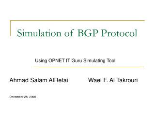 Simulation of BGP Protocol