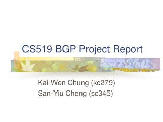 CS519 BGP Project Report