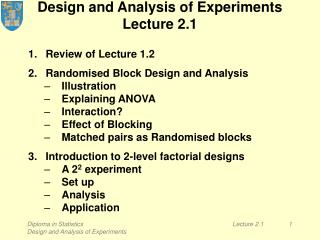 Design and Analysis of Experiments Lecture 2.1