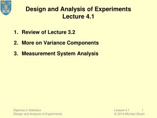 Design and Analysis of Experiments Lecture 4.1