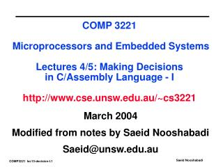 March 2004 Modified from notes by Saeid Nooshabadi Saeid@unsw.au