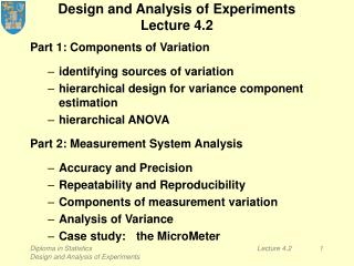 Design and Analysis of Experiments Lecture 4.2