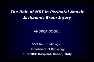 SSD  Neuroradiology Department of Radiology S. CROCE Hospital, Cuneo, Italy