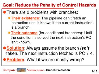 Goal: Reduce the Penalty of Control Hazards