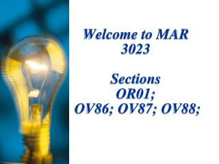 Welcome to MAR 3023
