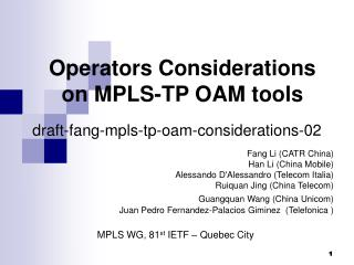 Operators Considerations on MPLS-TP OAM tools