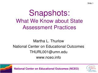 Snapshots: What We Know about State Assessment Practices