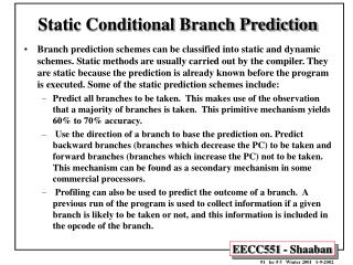 Static Conditional Branch Prediction