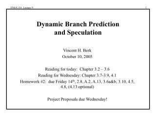 Dynamic Branch Prediction and Speculation