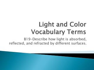 Light and Color Vocabulary Terms