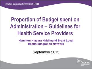 Proportion of Budget spent on Administration – Guidelines for Health Service Providers